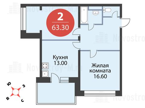 Павловская Слобода, 2-х комнатная квартира, ул. Красная д.д. 9, корп. 56, 6393300 руб.