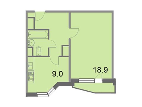 """Продается 1-к. квартира, 39,5 кв.м. в ЖК """"Кварталы 21/19"""""""