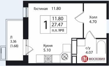 Студия 27.5м2, в новом доме, с развитой инфраструктурой. 15 км от МКАД