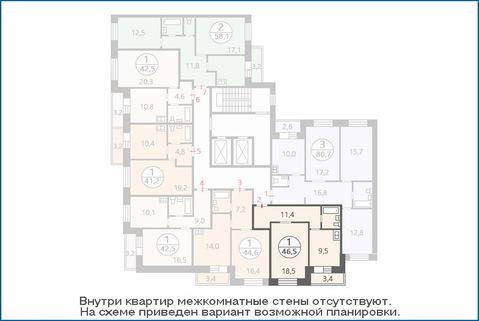 1-комн. квартира 46,5 кв.м. в новом ЖК, дом сдан в эксплуатацию