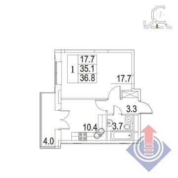 """1-комнатная квартира, 37 кв.м., в ЖК """"UP!КВАРТАЛ""""Римский"""""""