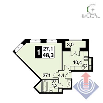 """1-комнатная квартира, 48 кв.м., в ЖК """"UP!КВАРТАЛ""""Римский"""""""