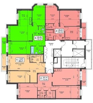 Продажа 3-х комнатной квартиры в ЖК Октябрь, 12 км. от МКАД