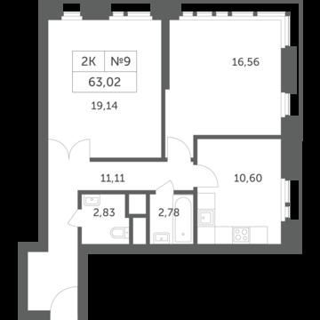 """2-комнатная квартира, 63 кв.м., в ЖК """"Спутник"""" (д. Раздоры)"""