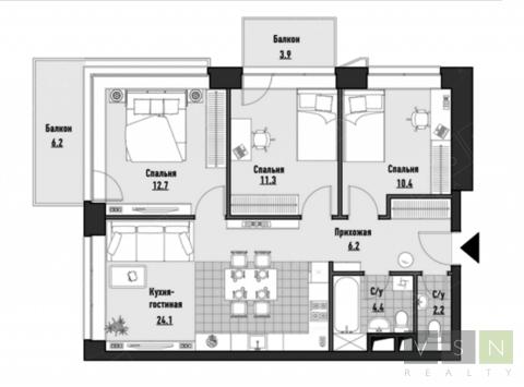 """4-комнатная квартира, 75 кв.м., в ЖК """"JAZZ"""""""