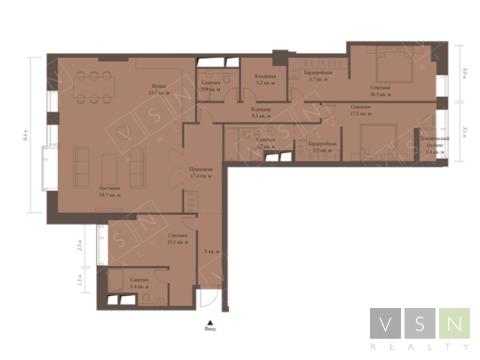 """4-комнатная квартира, 171 кв.м., в ЖК """"Резиденция МОНЭ"""""""