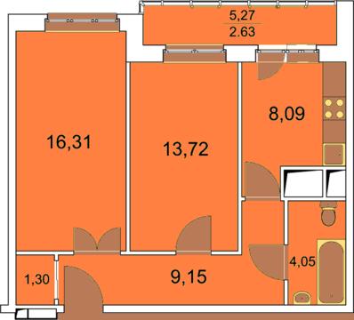 Пироговский, 2-х комнатная квартира, ул. Пионерская д.4, 4120000 руб.