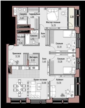"""4-комнатная квартира, в Элитный дом """"РЕНОМЭ"""""""