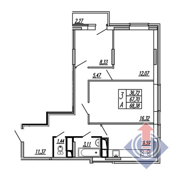 """3-комнатная квартира, 68 кв.м., в ЖСК """"Калипсо-3"""""""