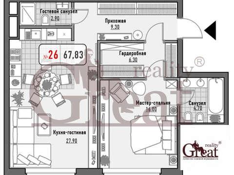"""2-комнатная квартира, 68 кв.м., в ЖК """"Малая Ордынка 19"""""""