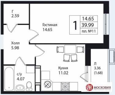 1 к.кв. 40м2, в новом монолитно-кирпичном доме. Прописка Москва.
