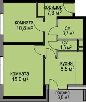 2-комнатная квартира, 50 кв.м., в ЖК «Светолюбово»