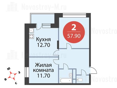 Павловская Слобода, 2-х комнатная квартира, ул. Красная д.д. 9, корп. 68, 5708940 руб.