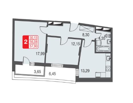 Москва, 2-х комнатная квартира, ул. Живописная д.12, 3610832 руб.