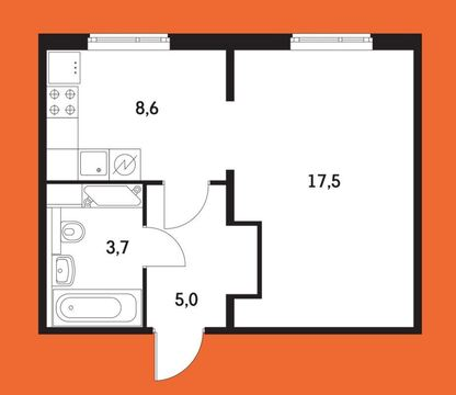 "1-комнатная квартира, 36 кв.м., в ЖК ""Бунинские луга"""