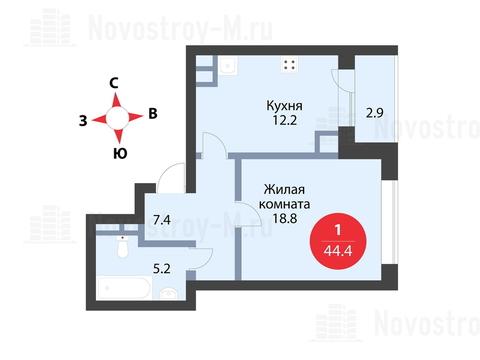 """1-комнатная квартира, 44 кв.м., в ЖК """"Сказка"""""""