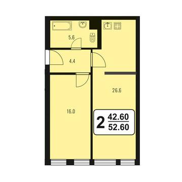 """2-комнатная квартира, 52 кв.м., в ЖК """"Зеленый город"""""""