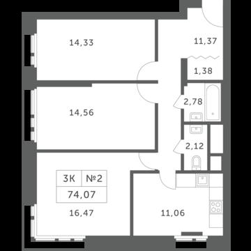 """3-комнатная квартира, 74 кв.м., в ЖК """"Спутник"""" (д. Раздоры)"""