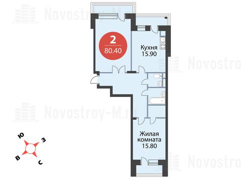 """2-комнатная квартира, 80 кв.м., в ЖК """"Сказка"""""""