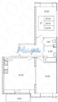 Продается двухкомнатная квартира в новом монолитно-кирпичном доме по