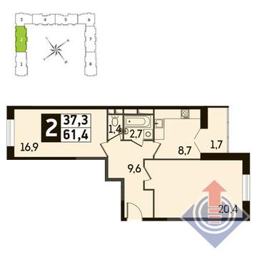 2-комнатная квартира, 61 кв.м., в ЖК Up! Квартал Новое Тушино