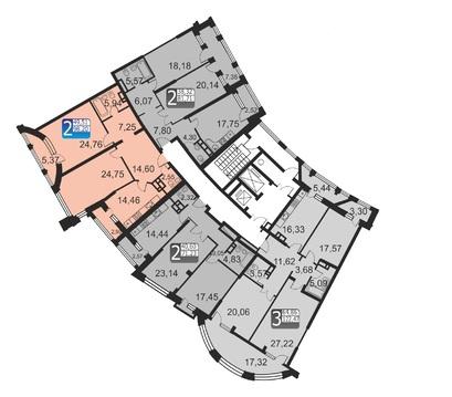"""2-комнатная квартира, 96 кв.м., в ЖК """"Маршал"""""""