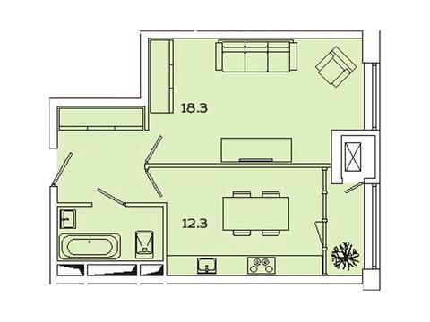 """Продается 1-к. квартира, 42,92 кв.м. в ЖК """"sreda"""""""