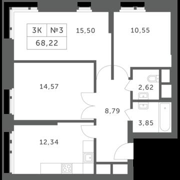 """3-комнатная квартира, 68 кв.м., в ЖК """"Спутник"""" (д. Раздоры)"""