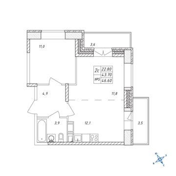 Люберцы, 2-х комнатная квартира, ул. Барыкина д., 4110586 руб.