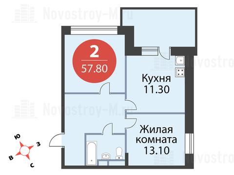Павловская Слобода, 2-х комнатная квартира, ул. Красная д.д. 9, корп. 55, 4605504 руб.