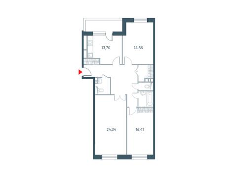 """3-комнатная квартира, в ЖК """"Прайм Тайм"""""""
