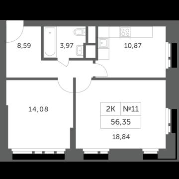 Раздоры, 2-х комнатная квартира, КП Береста д., 4693955 руб.