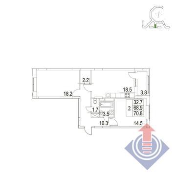 """2-комнатная квартира, 71 кв.м., в ЖК """"UP!КВАРТАЛ""""Римский"""""""