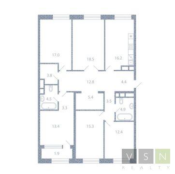 """5-комнатная квартира, 137 кв.м., в ЖК """"Серебряный фонтан"""""""