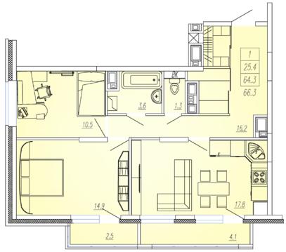 Мытищи, 2-х комнатная квартира, Ярославское ш. д.93, 5635000 руб.