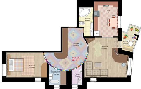 "2-комнатная квартира, 83 кв.м., в ЖК ""Гусарская Баллада"""