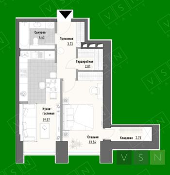 """2-комнатная квартира, 47 кв.м., в ЖК """"Парк Мира"""""""
