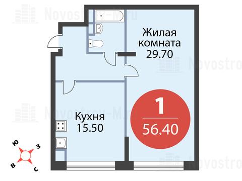 """1-комнатная квартира, 56 кв.м., в ЖК """"Сказка"""""""