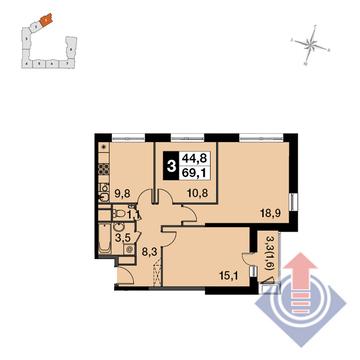 """3-комнатная квартира, 69 кв.м., в ЖК """"UP-квартал Скандинавский"""""""