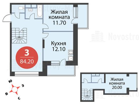 """3-комнатная квартира, 84 кв.м., в ЖК """"Сказка"""""""