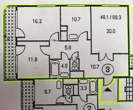 """3-комнатная квартира, 85 кв.м., в ЖК """"Оазис-Парк"""""""