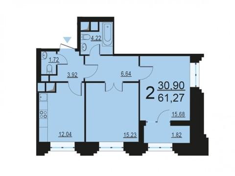 """2-комнатная квартира, 61 кв.м., в ЖК """"Родной город. Октябрьское поле"""""""