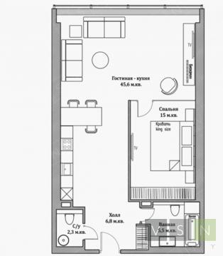 "2-комнатная квартира, 76 кв.м., в ЖК ""Резиденция Тверская"""