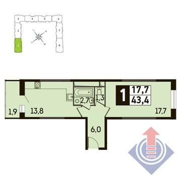 1-комнатная квартира, 43 кв.м., в ЖК Up! Квартал Новое Тушино