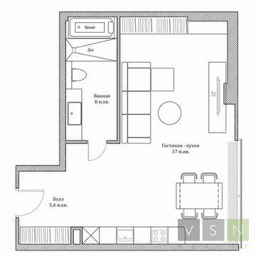 "1-комнатная квартира, 50 кв.м., в ЖК ""Резиденция Тверская"""