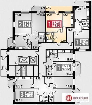 """1-комнатная квартира, 46 кв.м., в ЖК """"Парковый"""" г. Подольск"""