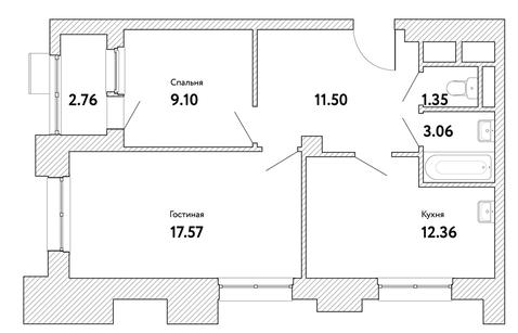 """2-комнатная квартира, 56 кв.м., в ЖК """"Пикассо"""""""