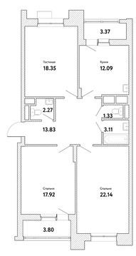 """3-комнатная квартира, 95 кв.м., в ЖК """"Пикассо"""""""