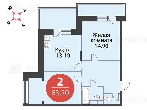 """2-комнатная квартира, в ЖК """"Сказка"""""""