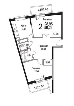 """2-комнатная квартира, 59 кв.м., в ЖК """"Прима парк"""""""